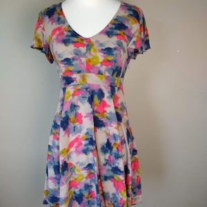 Frenchi | V-Neck Midi Multicolored Dress